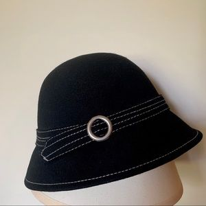 Black wool cloche style 1920s inspired bucket hat